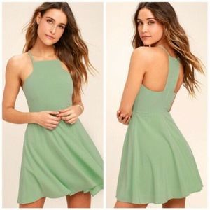 Lulus Dress Call to Charms Sage Green Skater  XL